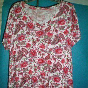 Philosophy beautiful floral high low hem shirt  XL